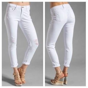 Slouchy Dash Skinny in Tattered White Jean